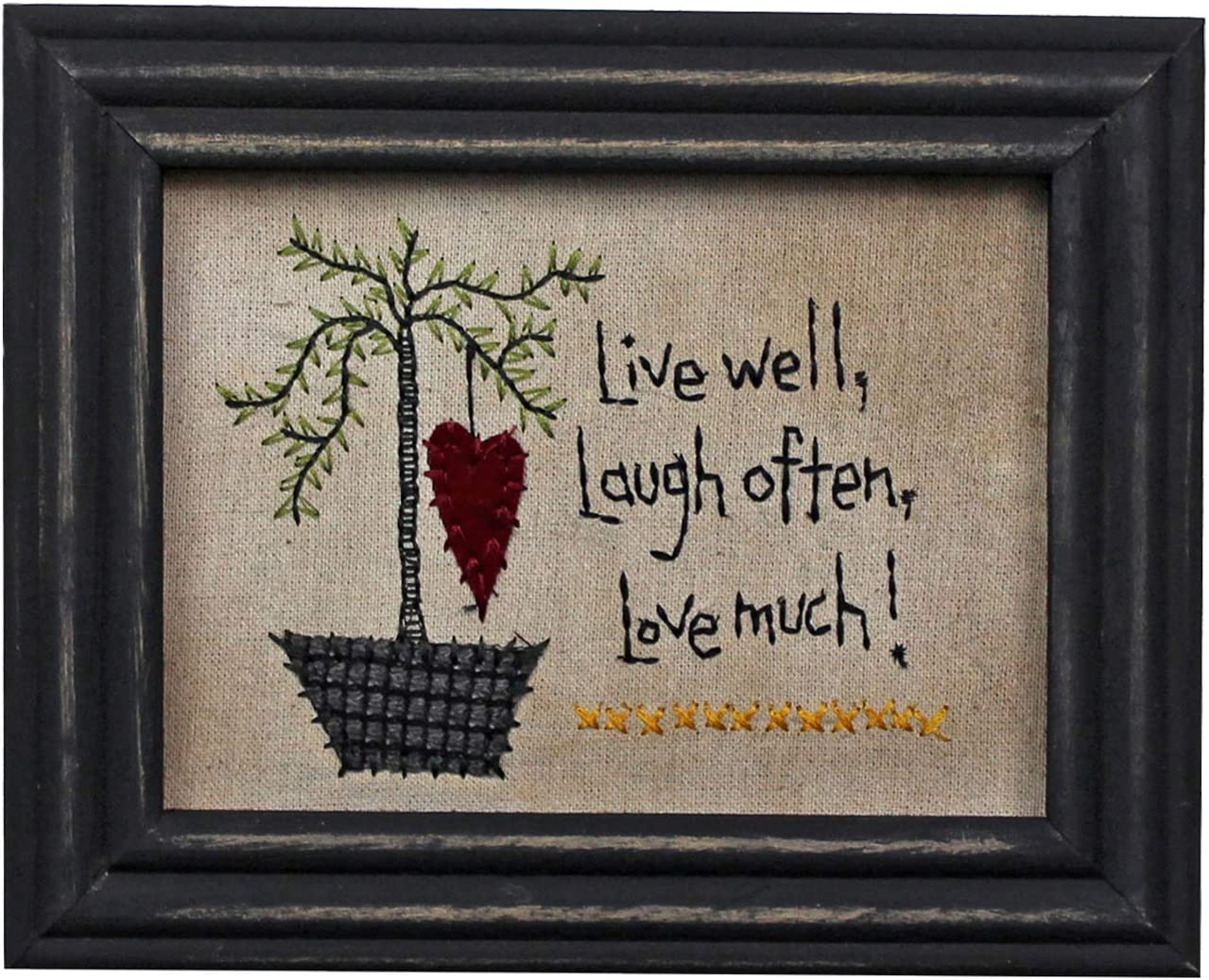 CVHOMEDECO. Primitives Vintage Live Well, Laugh Often, Love Much! Stitchery Frame Wall Hanging Decoration Art, 8-3/4 x 6-3/4 Inch