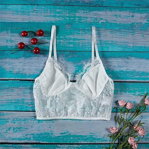 4da449026129b6 Amazon.com  Ladies Sexy Lace Bralette Bra Lingerie Top Mesh Mini V Neck  Sleepwear  Clothing