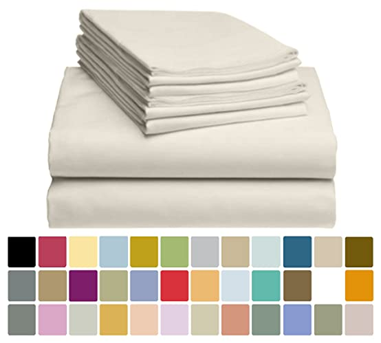 6 PC LuxClub Bamboo Sheet Set w/ 18 inch Deep Pockets - Eco Friendly, Wrinkle Free, Hypoallergentic, Antibacterial, Moisture Wicking, Fade Resistant, Silky, Stronger & Softer than Cotton - Cream King