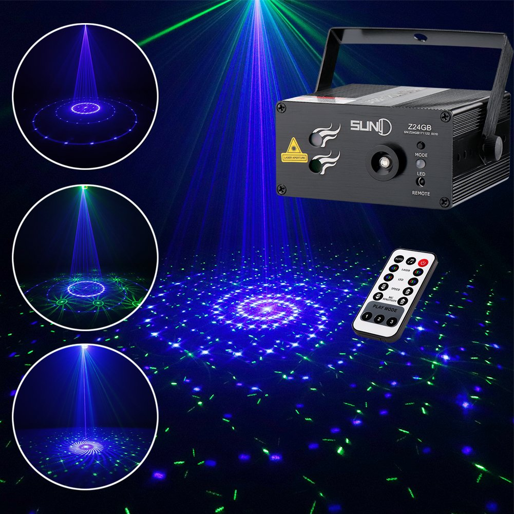 SUNY Laser Lighting Party DJ Light Show 12 Big Patterns Green Blue Laser Light Blue LED Light Music Laser Projector Sound Activated Remote Control Stage Lighting Dance House Decoration Xmas Holiday Z12GB