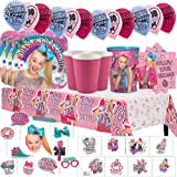 JoJo Siwa MEGA Deluxe Birthday Party Pack for 16 with Plates, Napkins, Cups, Tablecover, Favor Cup, Photo Props with Scene Setter, Tattoos, and Balloons!
