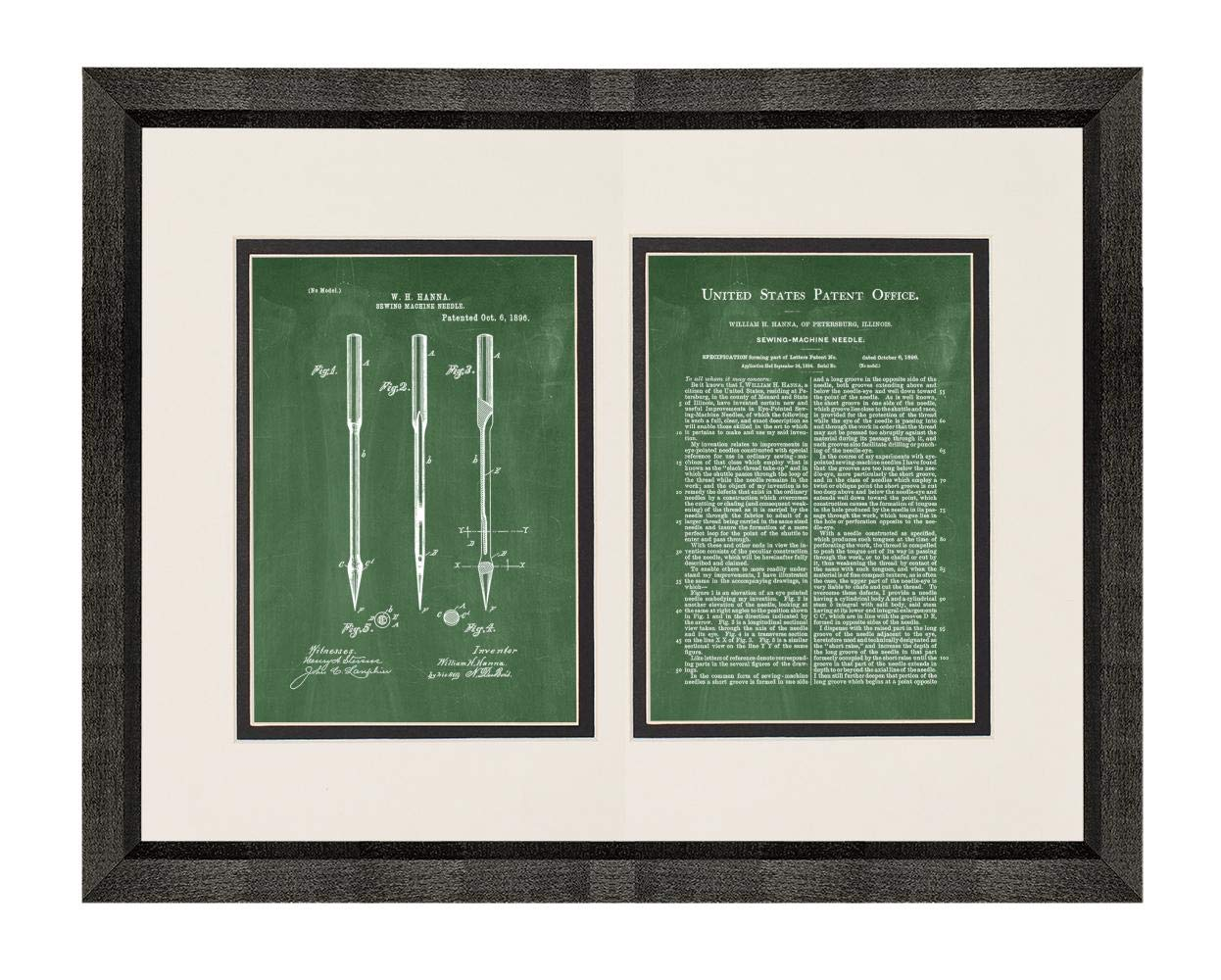 Sewing Machine Needle Patent Art Green Chalkboard Print in a Beveled Black Wood Frame with a Double Mat (16'' x 20'') M15828