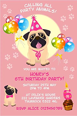 Personalised Pug Dog Birthday Party Invitations X10 Amazon Co Uk