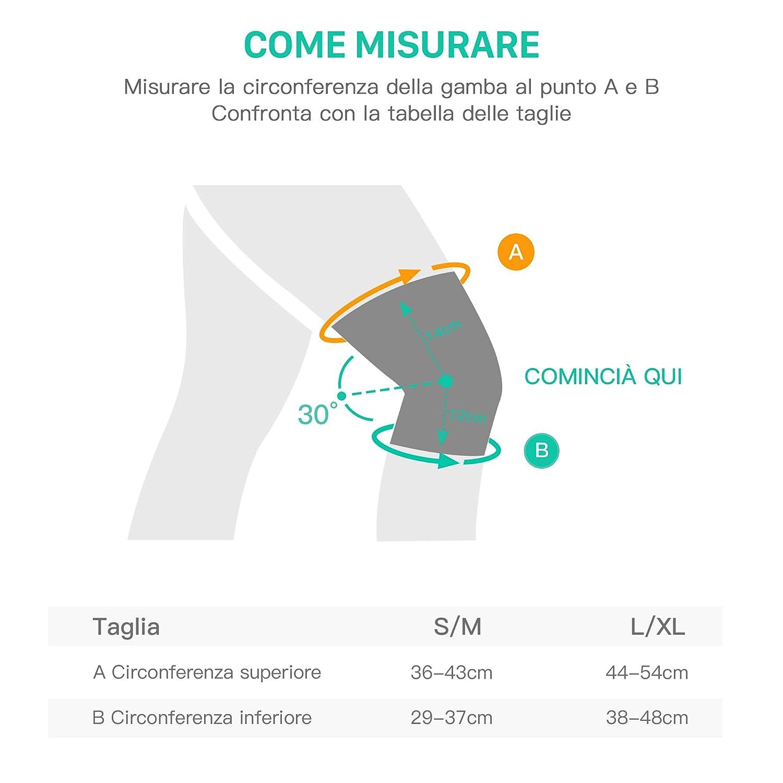 L//XL Ginocchiera di Sostegno Leggero Doppia Fascia a Molle con Cinghia di Comparessione Elastica per Sostegno Professionale