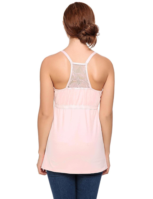 245bb66eb7b569 Yealsha Women s Maternity Nursing Tops Shirt Cami Sleep Bra for  Breastfeeding Pink XL at Amazon Women s Clothing store
