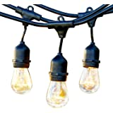 Brightech Ambience Pro Commercial Grade Outdoor Light Strand with Hanging Sockets - 48 Ft Market Cafe Edison Vintage Bistro Weatherproof Strand for Patio Garden Porch Backyard Party Deck Yard – Black