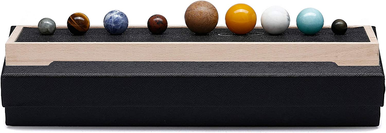 Jovivi 9 Planets Solar System Desk Decor Healing Crystal Stones Ball Set Collective Figurines Handmade Natural Gemstone on Wooden Stand Display Home Office Decorations