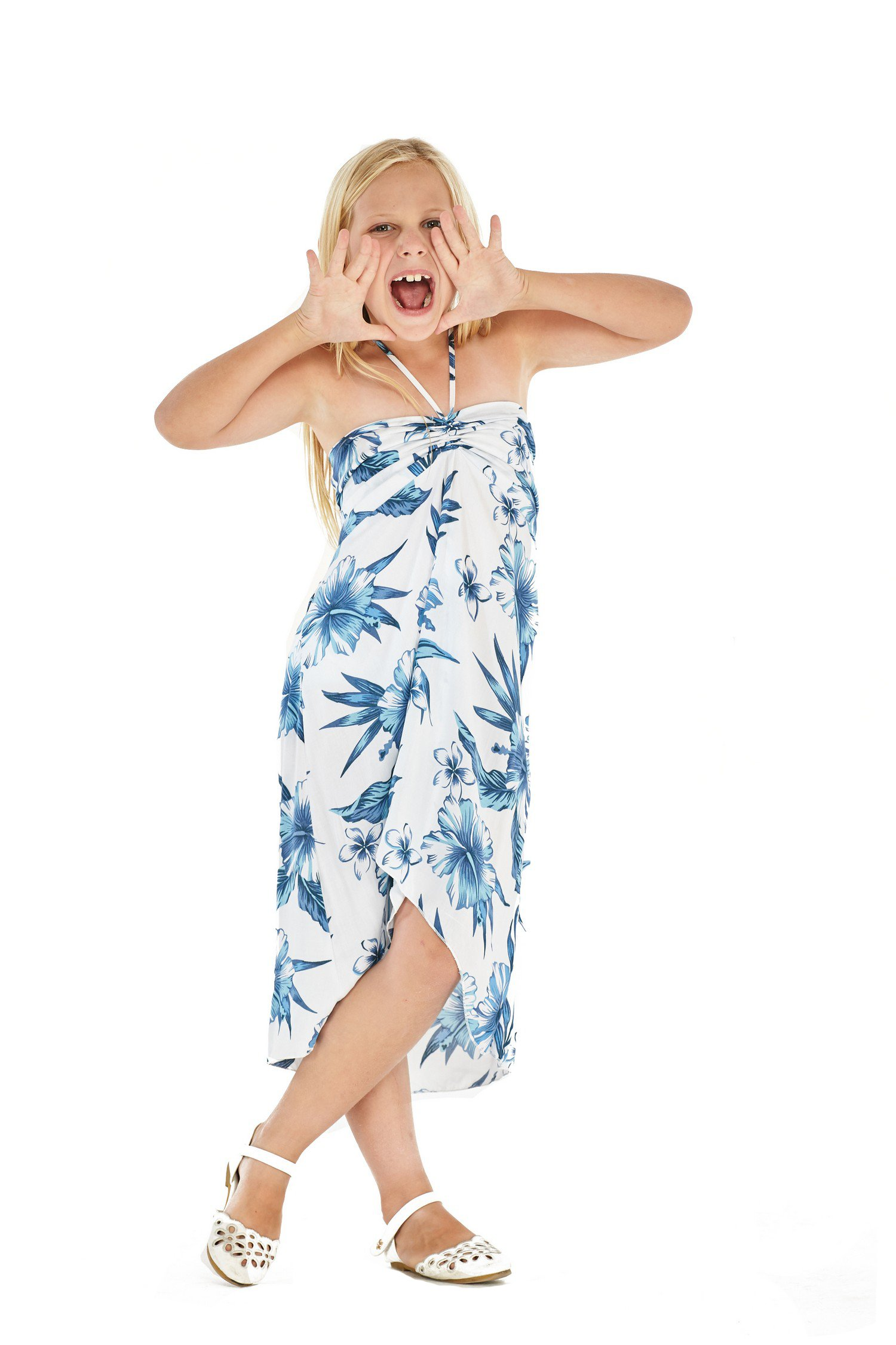 Girl Hawaiian Blutterfly Dress and Ruffle Straw Hat with Matching Band in Day Dream Bloom Size 8 by Hawaii Hangover (Image #2)