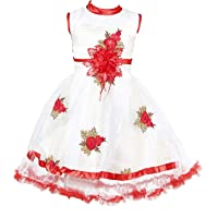 YAYAVAR™ Girls Net Made White & Red Colored Casual/Party Wear Frock for Girls - Set of 01 from 02-08 Years