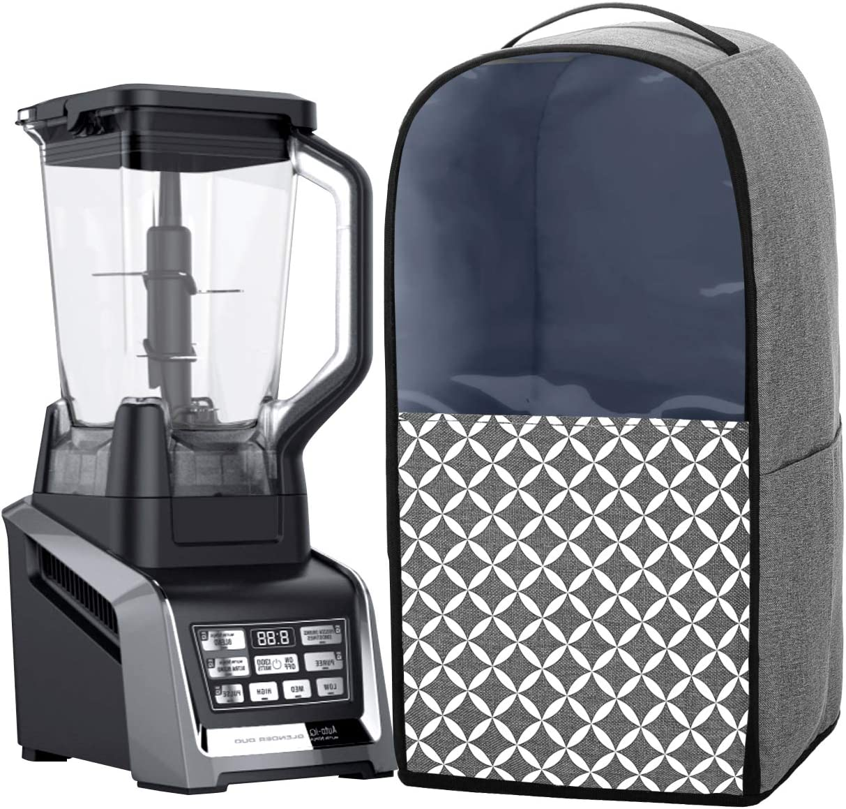 Yarwo Visible Blender Dust Cover Compatible with Ninja Foodi Blender, Small Appliance Cover with Pockets and Top Handle, Gray with Grid (Cover Only, Patent Pending)