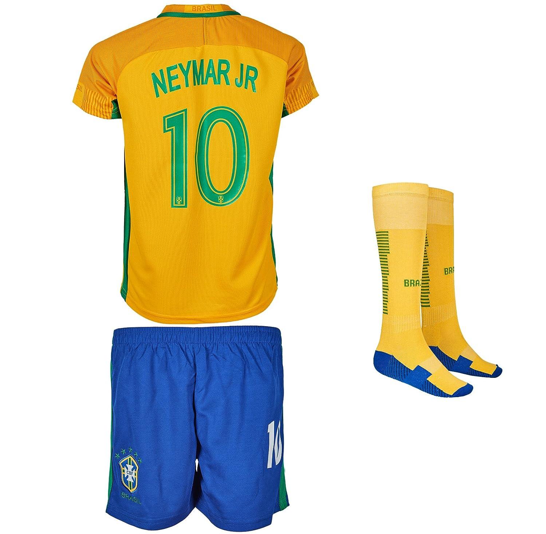 Brasilien 2017/18 # 10 Neymar Heim – Kinder Trikot und Hose mit Socken (164)
