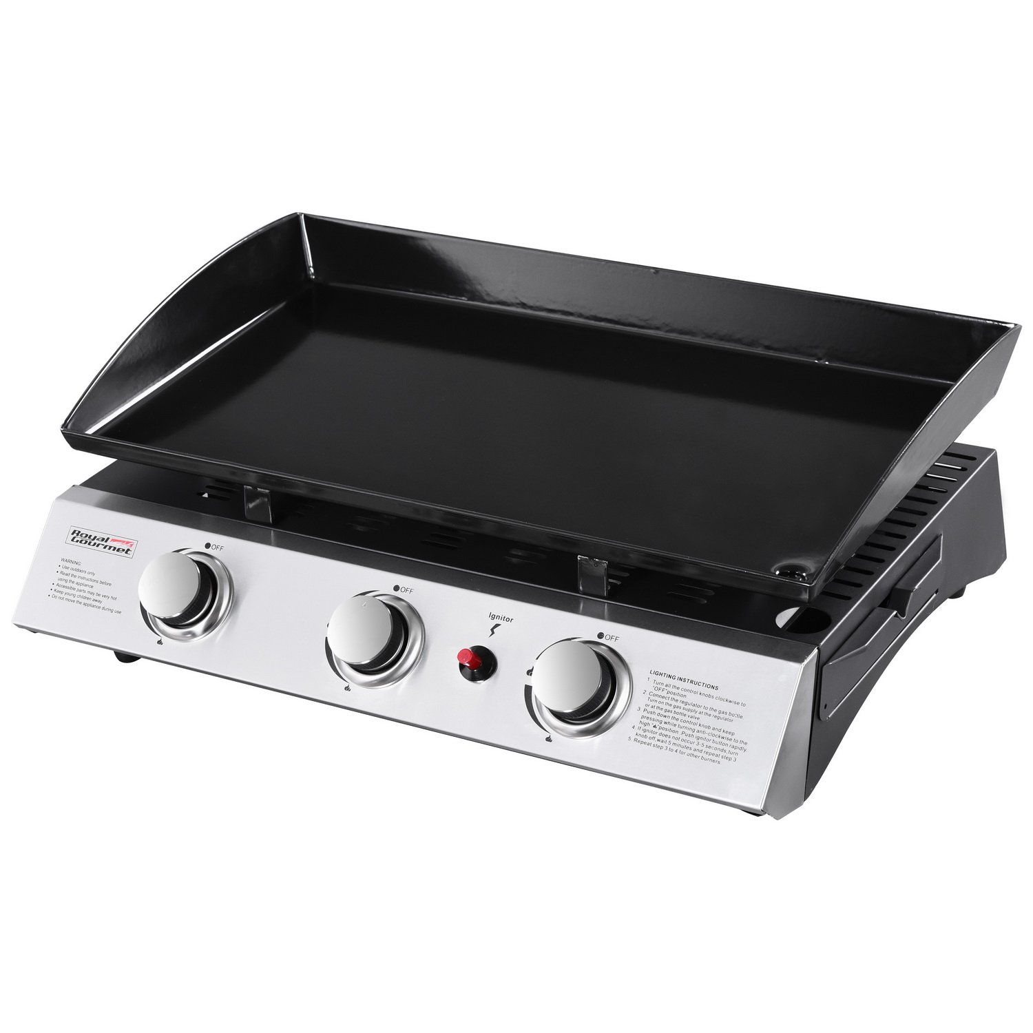 Steel Portable Tabletop 3 Burner Propane Gas Grill Royal ...