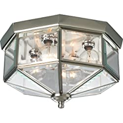 Progress Lighting P5789-09 Octagonal Close-To-Ceiling Fixture with Clear Bound Beveled Glass, Brushed Nickel