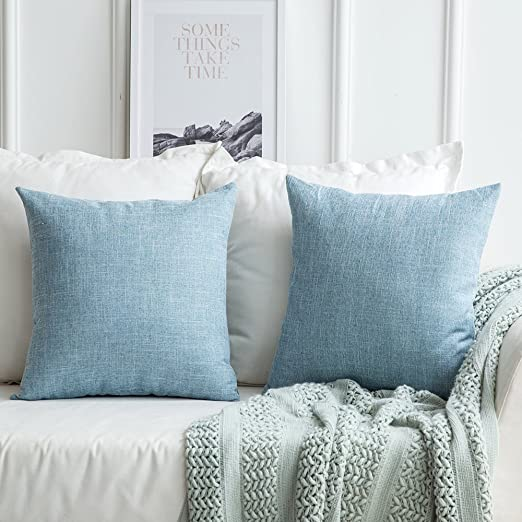 Amazon Com Miulee Pack Of 2 Decorative Linen Burlap Pillow Cover