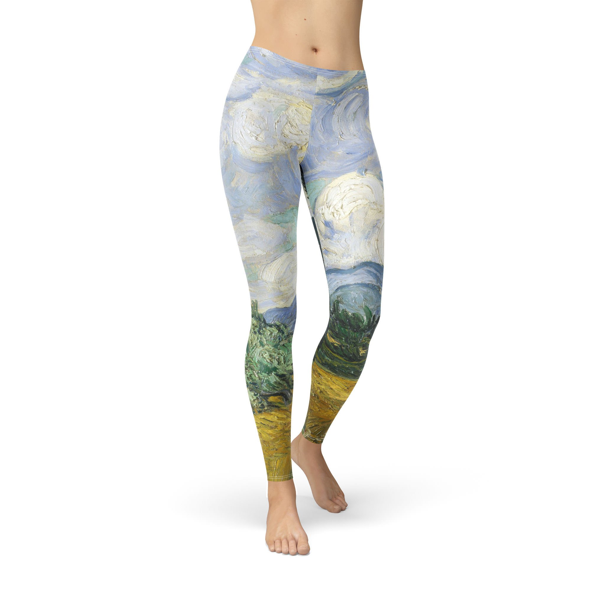 Vincent Van Gogh Fine Art Painting Winter Leggings - Fleece, Full Length, Mid/High Waist
