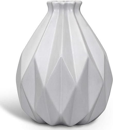 NEWQZ Modern Geometric Pattern Stoneware Vase, Creative Porcelain Vase for Home Decor, 7.09 H, White