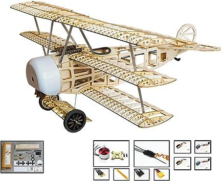 DW Hobby RC Avión Balsawood Triplane Fokker DR.I Wingspan 770mm Balsa modelo de construcción de avión con sistema de alimentación S1704: Amazon.es: Juguetes y juegos