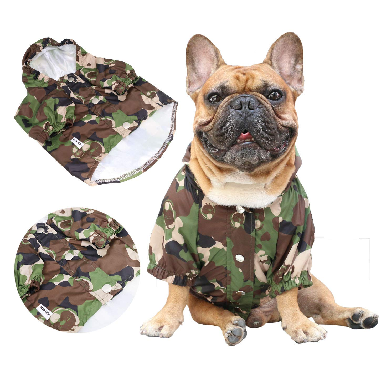 iChoue Pet Dog Hoodie Clothes Windproof Waterproof Raincoat for French bullodg Outwear Shiba Inu Frenchie Outdoor Water Resistant Coat with Reflective Strips - Camouflage/Size M