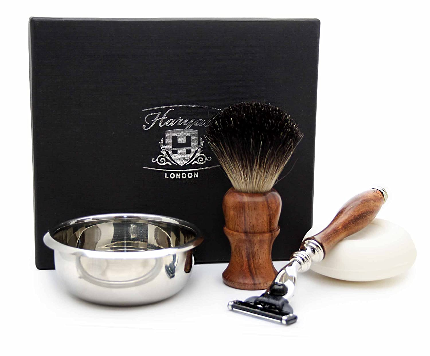 4 PIECES WOODEN SHAVING SET FOR MEN'S GROOMING.THE SET INCLUDES PURE BLACK BADGER HAIR SHAVING BRUSH,GILLETTE MACH 3 RAZOR, BOWL & FREE SOAP. PERFECT AS A GIFT THIS CHRISTMAS FOR HM.SPECIAL EDITION. HARYALI LONDON