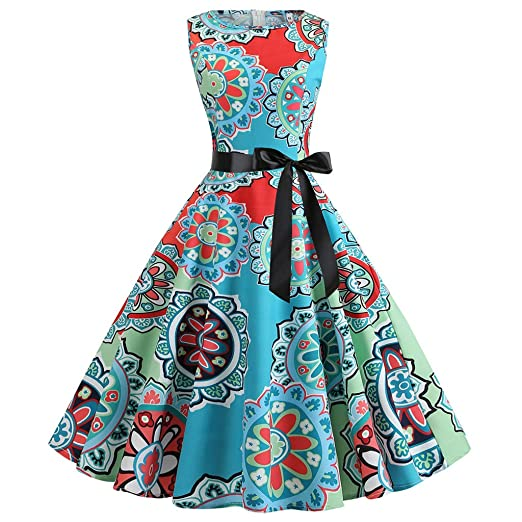 050a315b1df WANQUIY Women s Dresses Ladies Vintage O Neck Elegant Floral Print  Sleeveless Retro Evening Party Prom Swing