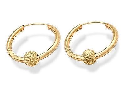 4840515e6 Genuine 9ct Yellow Gold Glitter Ball Hoop Earrings - 22mm: Amazon.co.uk:  Jewellery