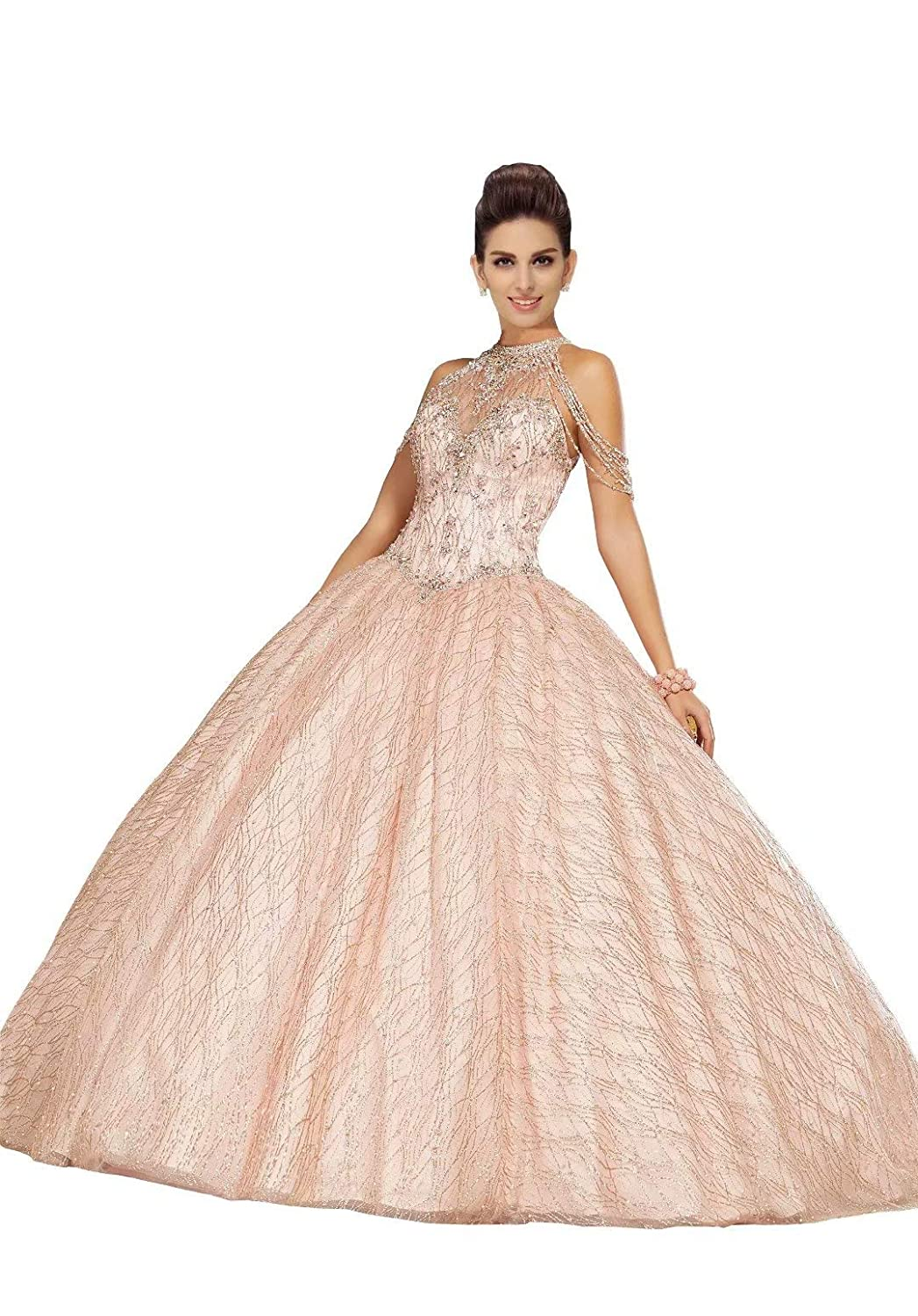 7494061f72 High Halter Off The Shoulder Quinceanera Dresses 2019 Pearls Beading  Crystal Lace-up Ball Gowns Prom Dress at Amazon Women s Clothing store