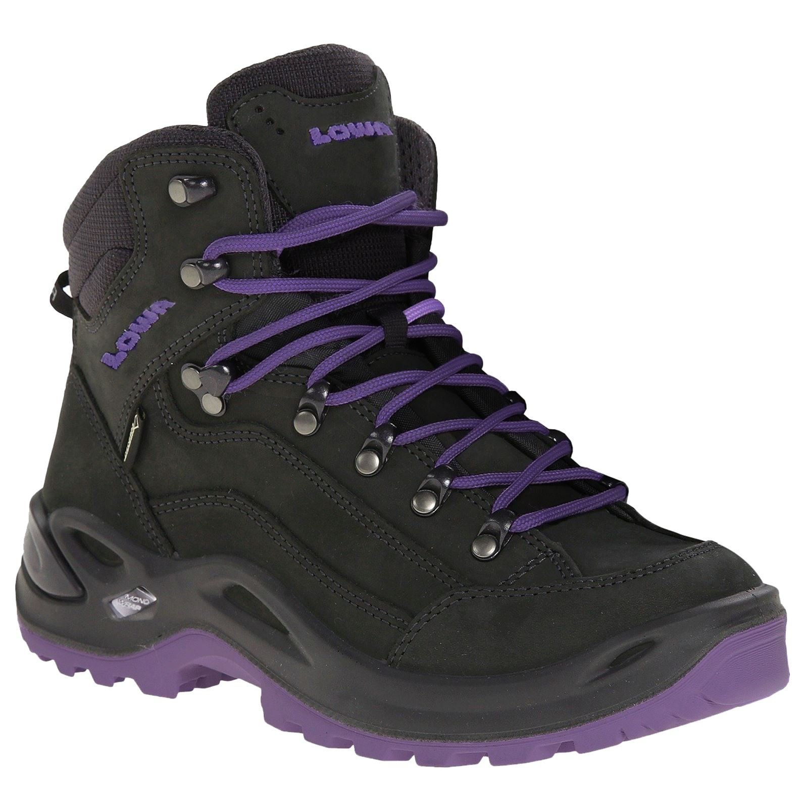 Lowa Womens Renegade Gore-TEX Mid Black Blackberry Nubuck Boots 7 US