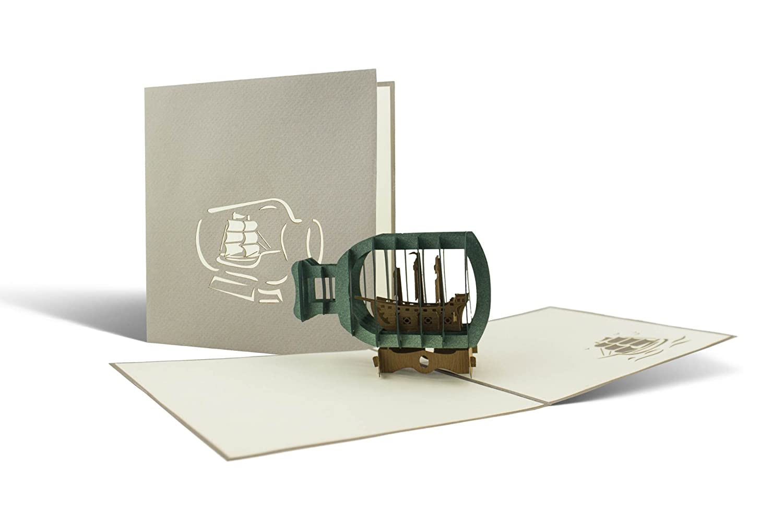 nave in una bottiglia, nautica regali, fatto a mano, taglio laser, biglietti d' auguri, B08 biglietti d' auguri Diese-Klappkarten 3710042