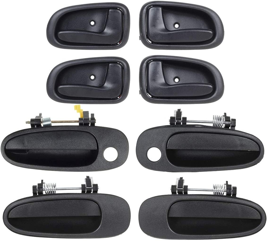 AUTEX 4pcs Left Outer Exterior Door Handle Compatible with Prizm 1993 1994 1995 1996 1997 Inner Interior 4pcs Right Driver Side Passenger Side