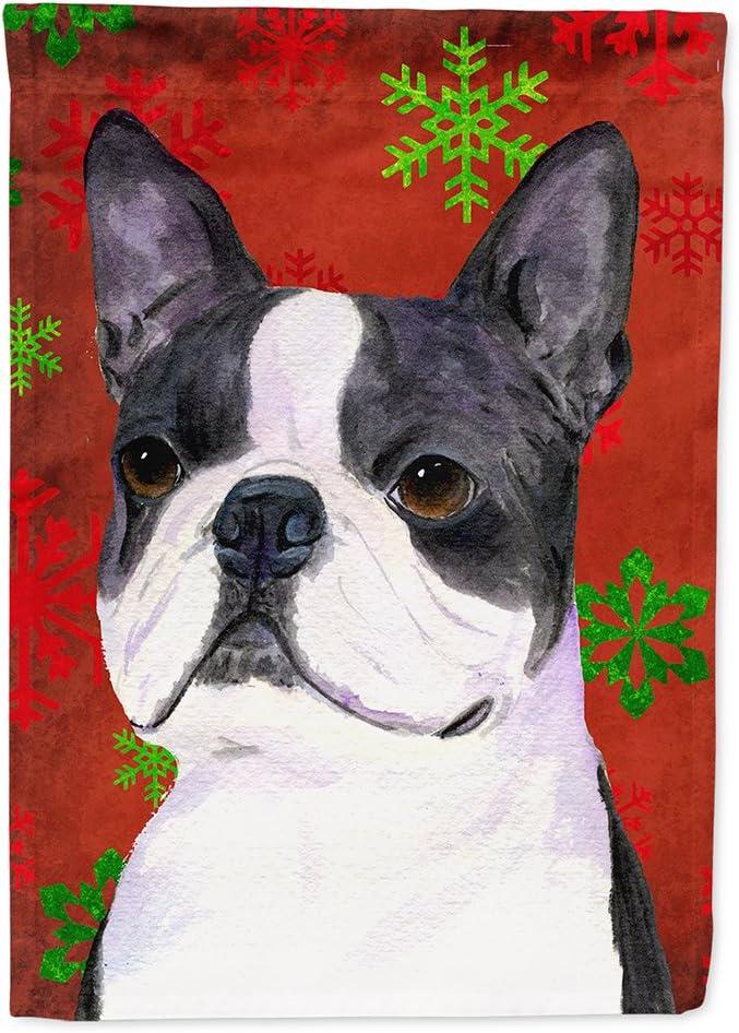 Caroline's Treasures SS4723GF Boston Terrier Red Green Snowflakes Christmas Flag Garden Size, Small, Multicolor