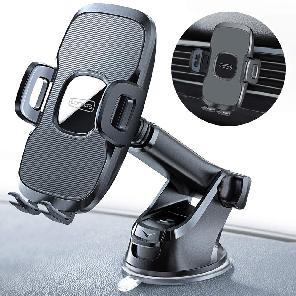TORRAS Cell Phone Holder for Car Dashboard & Windshield & Air Vent Car Phone Mount with Upgraded Stronger Suction Cup Compatible with iPhone 11 Pro/X Max/XR/XS/X/8 plus/8/7, Galaxy Note 10 plus/S9+/S8 by TORRAS
