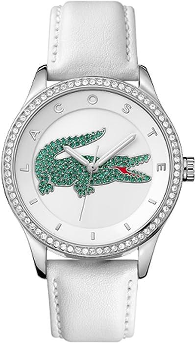 e23c0d771b05 Lacoste funda Ladies  Victoria blanco y verde Dial con correa de piel color blanco  reloj