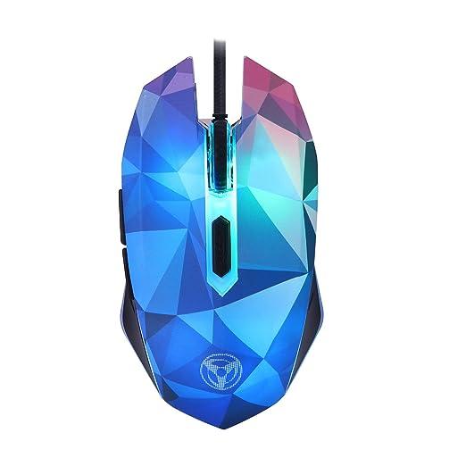 DGBAY Ratón Gaming con Cable Ergonómico Óptico Hasta 3200 DPI 6 Botones 7 Colores Luz LED
