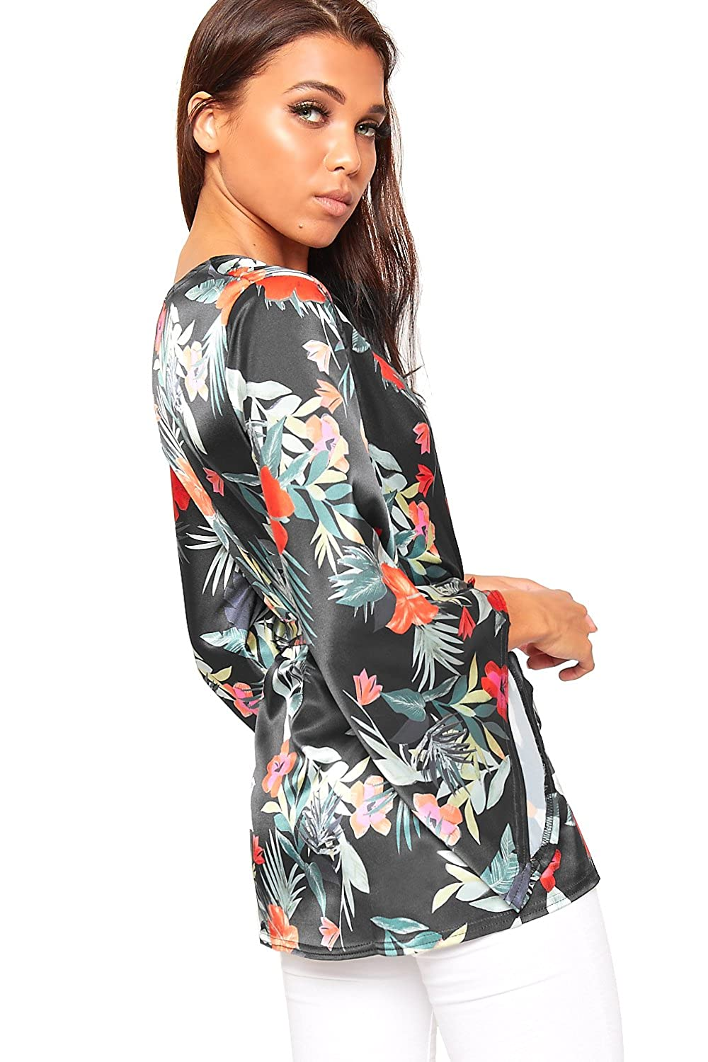 a784fd6ba1 WearAll Women s Floral Print Satin Long Kimono Flare Sleeve Top Ladies  Blazer Open Belted - Black - 12  Amazon.co.uk  Clothing