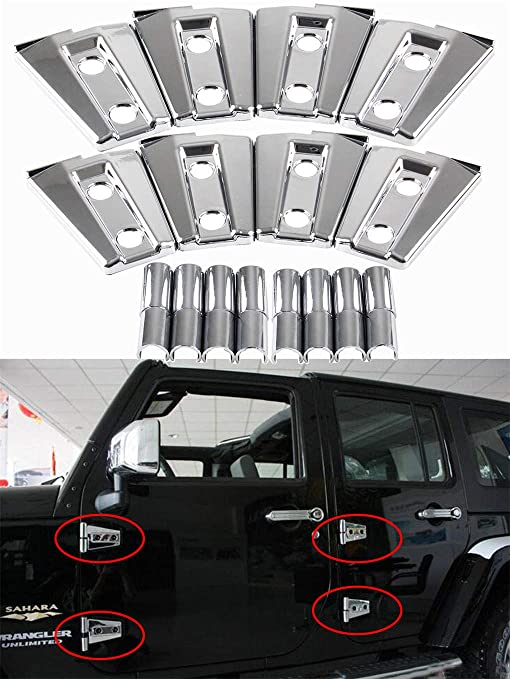 8Pcs Chrome ABS Door Hinge Covers Trim For 2007-2017 Jeep Wrangler JK Unlimited