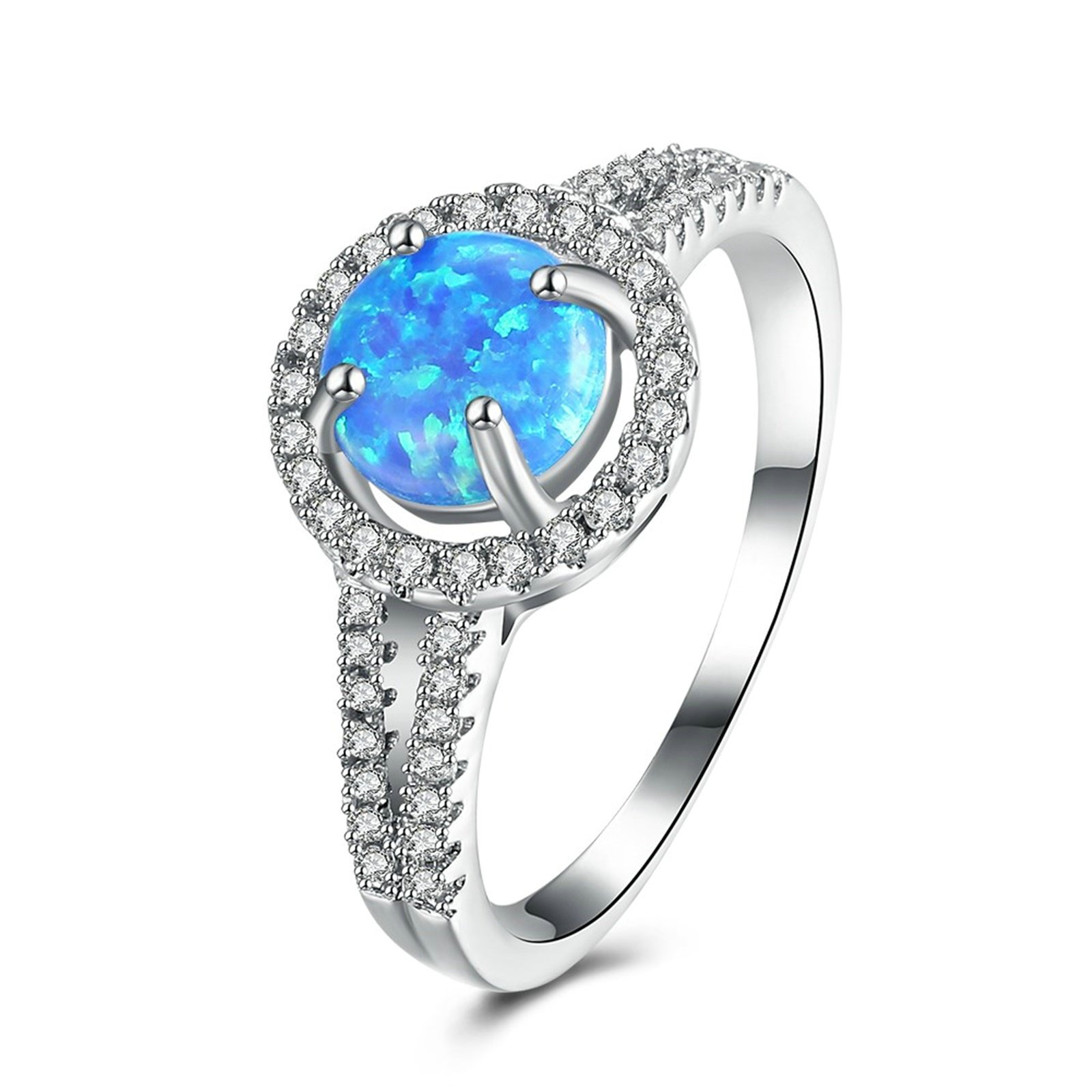 MoAndy Silver Plated Ring For Women Four Setting Prong Sappire Cubic Zirconia Size 9