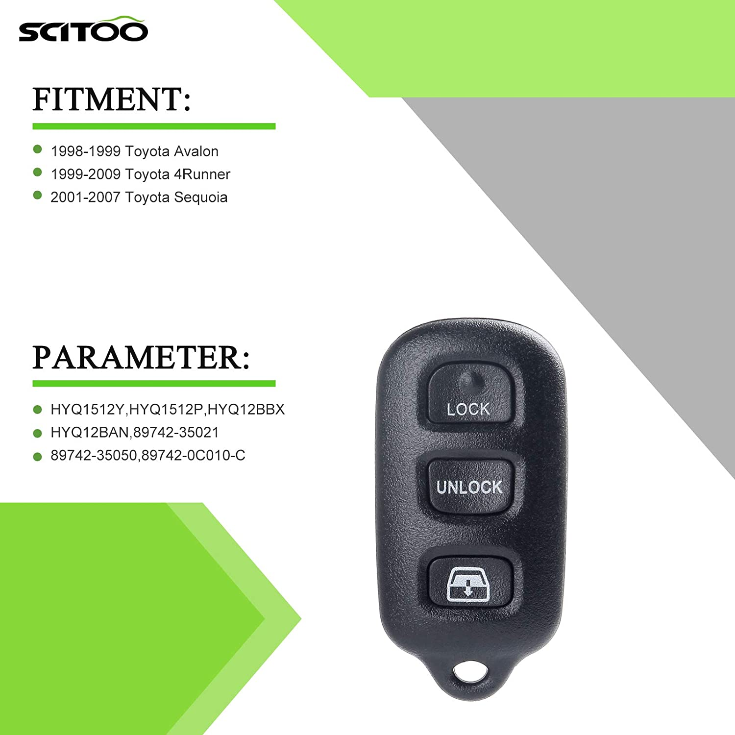 SCITOO Keyless Entry Option Replacement for 4 Buttons 2004-2010 Toyota 4Runner Sequoia 1PC FCC HYQ12BAN