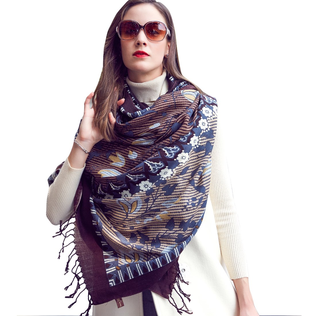 DANA XU Pure Wool Ponchos for Women Large Pashmina Shawls and Wraps