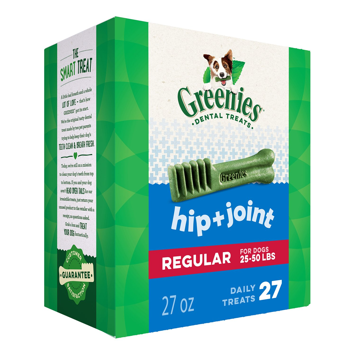 DISCONTINUED: GREENIES Hip and Joint Regular Size Dental Dog Chews - 27 Ounces 27 Treats