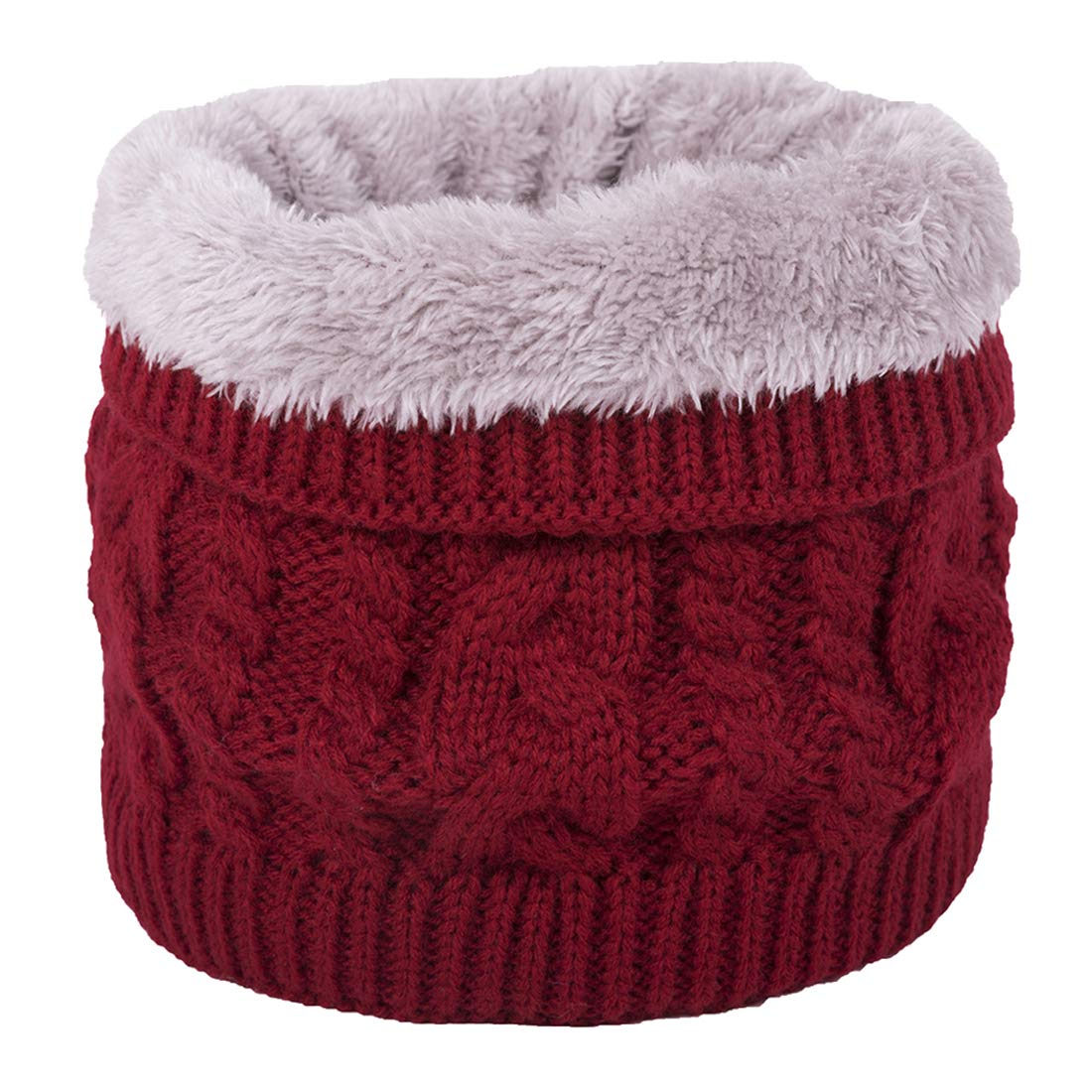 Bonvince Harsh Winter Double-Layer Soft Fleece Lined Thick Knit Neck Warmer Circle Scarf Windproof