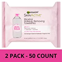 Deals on 50-Count  Garnier SkinActive Micellar Makeup Remover Wipes