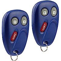 Key Fob Keyless Entry Remote fits Chevy Tahoe Suburban Silverado Avalanche Equinox SSR / GMC Sierra Yukon / Cadillac Escalade / Hummer H2 / Pontiac Torrent / Saturn Vue (LHJ011 Blue), Set of 2