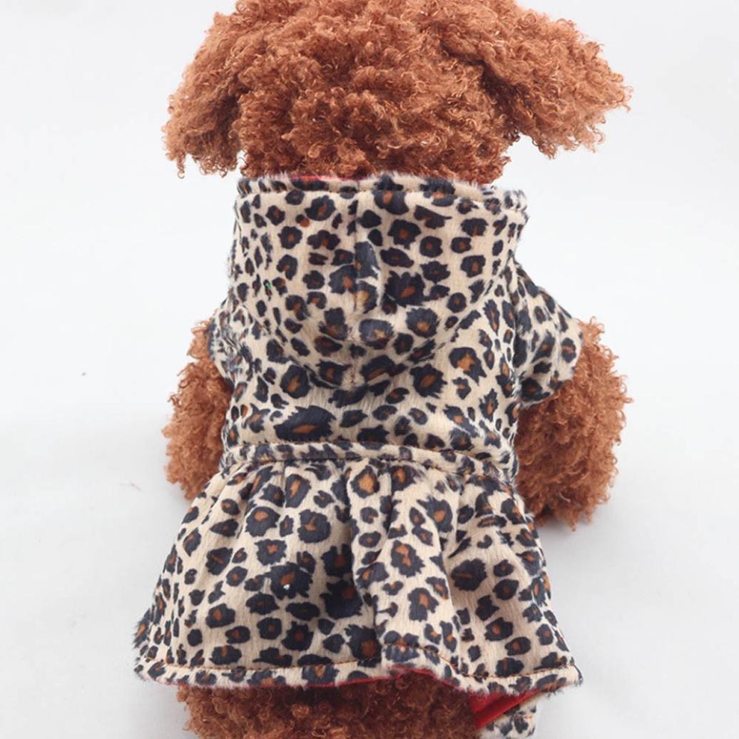 Kim88 2017 Pet Dogs Leopard Dress Tops Puppy Cotton Hoodie Clothes (XL)