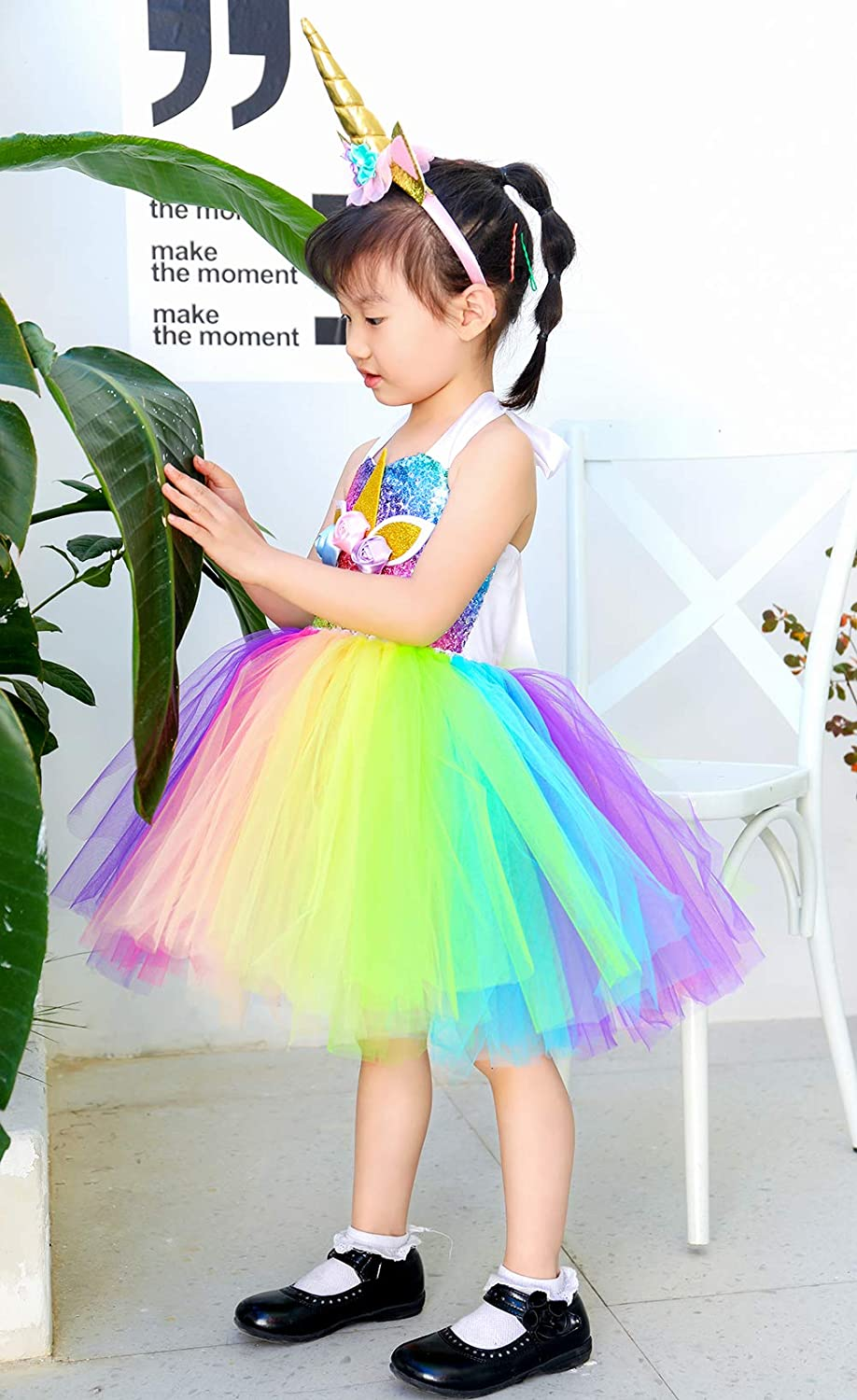 Tutu Dreams Unicorn Costume for Girls 1-10Y Sequin Princess Dress with Headband Halloween Dress Up Birthday Party Gifts