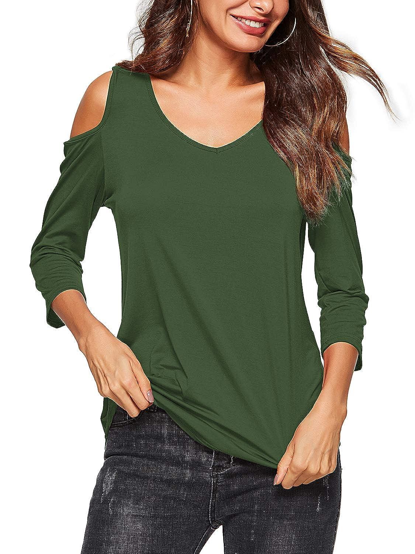 Beluring Damen Casual Solides Cold Shoulder T-Shirt V-Ausschnitt Tops Bluse