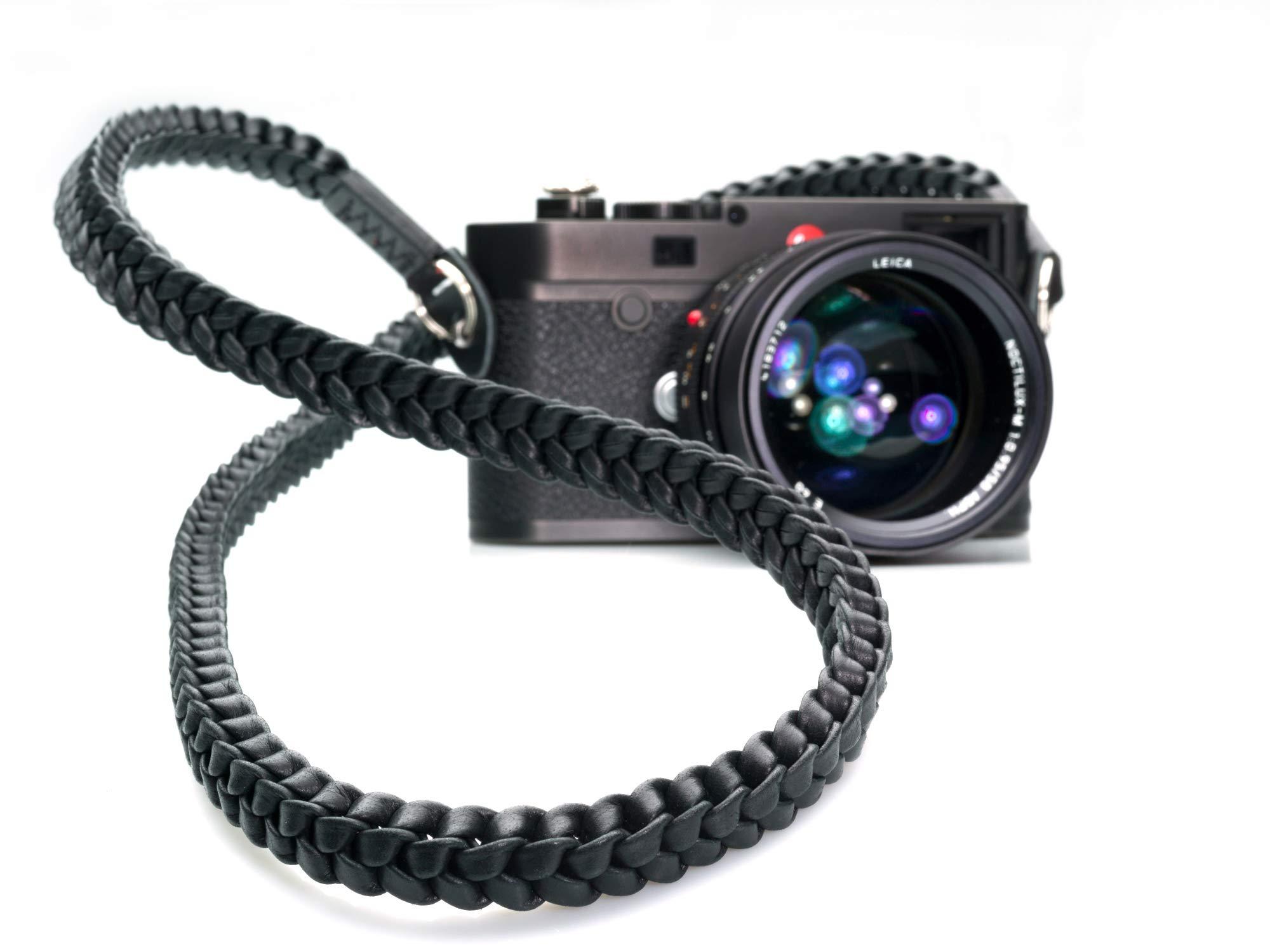 Barton 1972 Braided Pitch Black Black 42 inch (105cm) Leather Leica Sony Fuji Olympus Luxury Designer Camera Strap