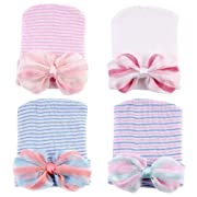 Ademoo Newborn Girl Nursery Beanie Hospital Hat with Rhinestone Bow (4 Pack Bow)