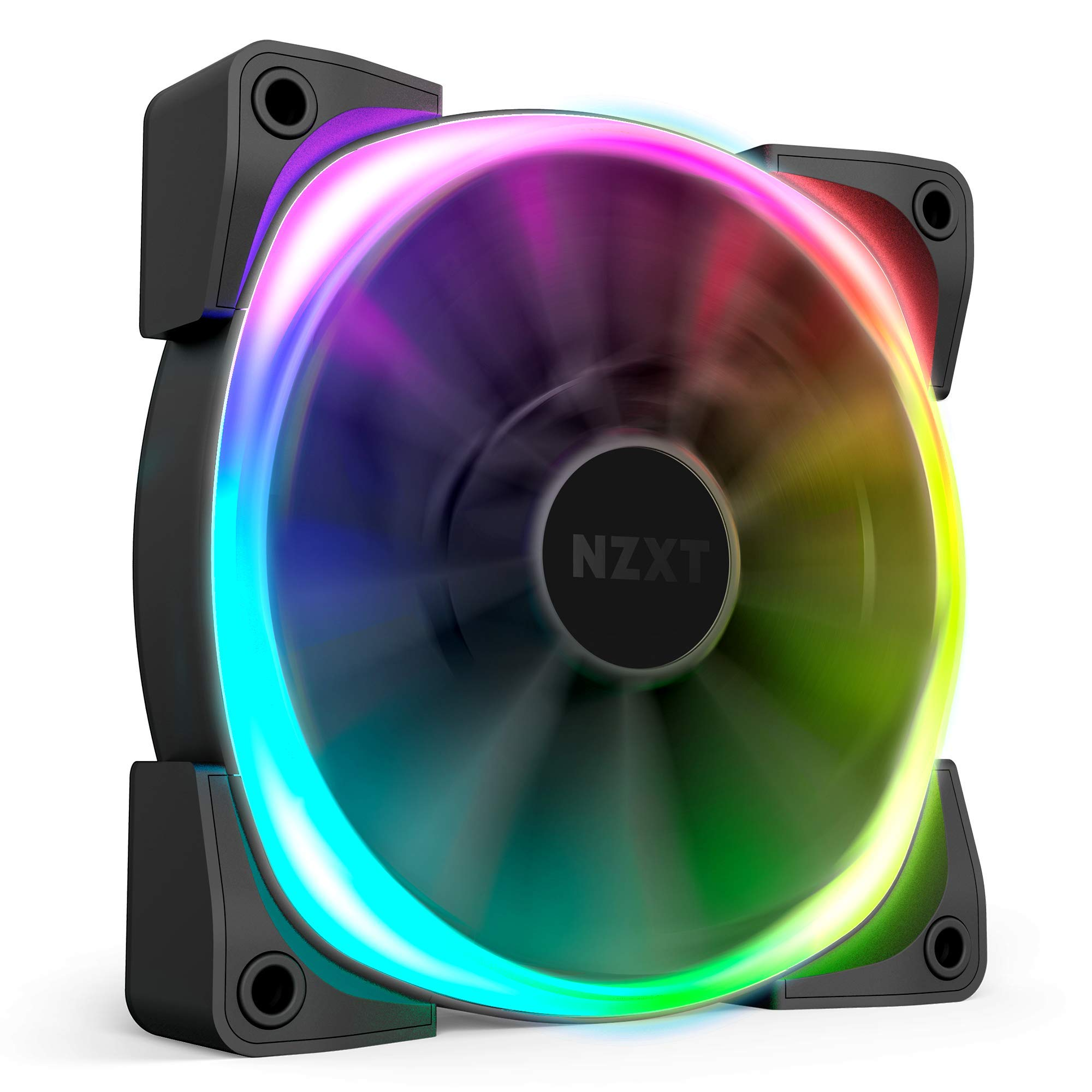 Nzxt AER RGB 2 - 120mm - Advanced Lighting Customizations - Winglet Tips - Fluid Dynamic Bearing - LED RGB PWM Fan for Hue 2 - Single (Hue2 Lighting Controller not included) by NZXT