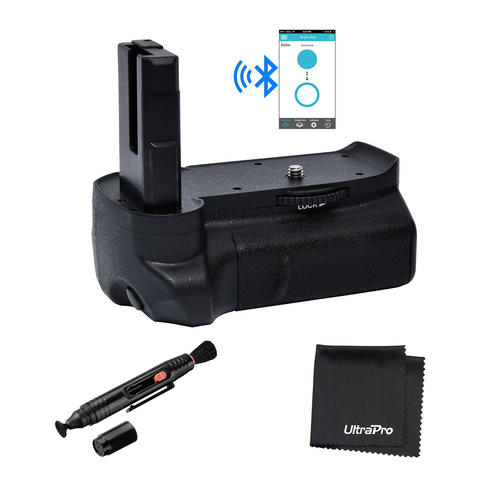 Bluetooth Battery Grip Bundle F/Nikon D3100, D3200, D3300: Includes Vertical Battery Grip, MicroFiber Cloth, Lens Cleaning Pen by UltraPro