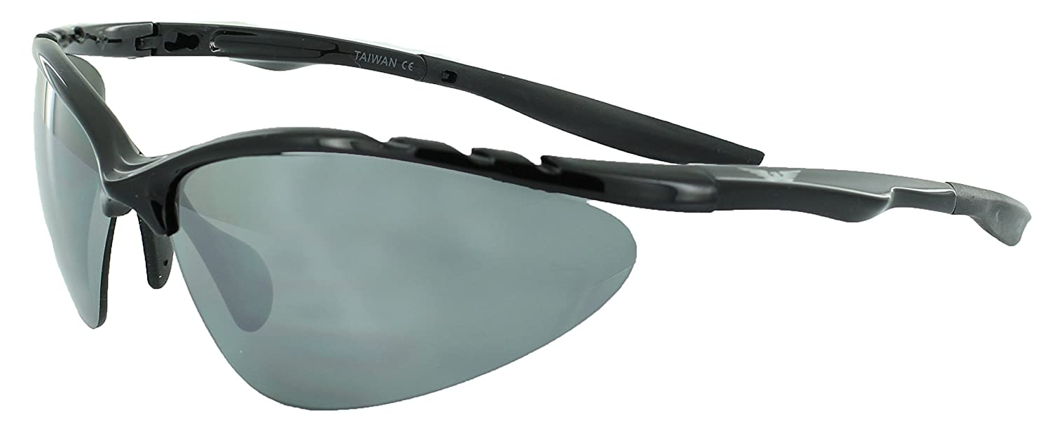959cca12fa4 Global Vision Eyewear Black Frame Competitor Sunglasses with Flash Mirror  Lenses  Amazon.in  Sports
